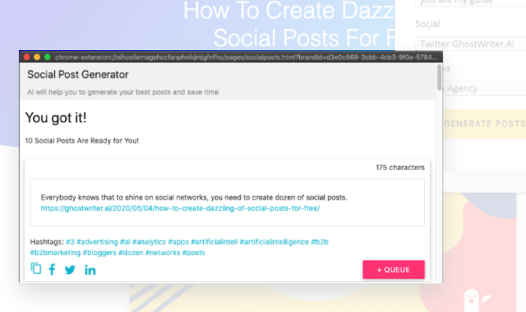 Ghostwriter Extension Social Post Generator