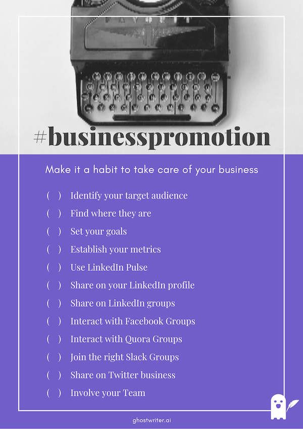 How to promote your business checklist