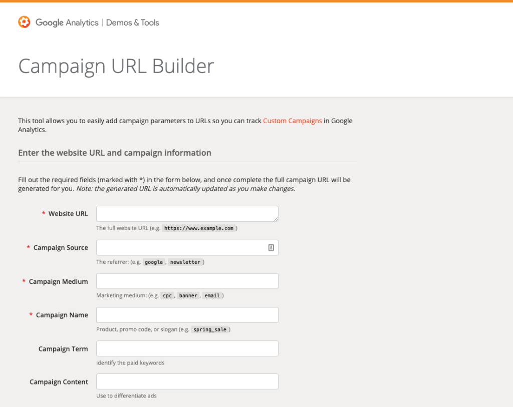 Campaign URL builder, by Google