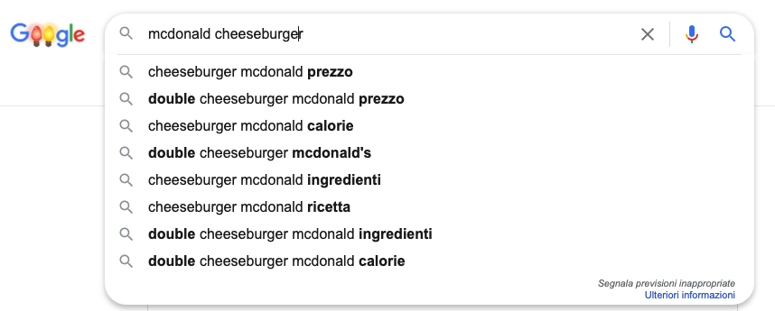 Google suggestions about McDonald's cheeseburger